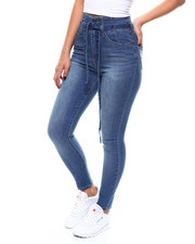 Jeans - Hi-Rise Belted Gathered Waist Skinny Jeans-2266648