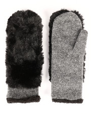 Women - Faux Fur Knit Gloves-2266577