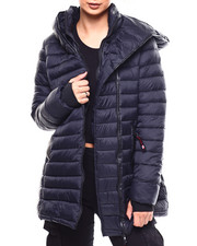 Fashion Lab - Lightweight Quilted Hooded Long Bubble Asymmetrical Zip-2266550