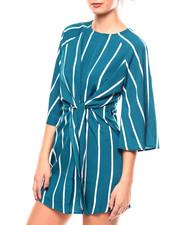 Dresses - L/S Stripe Keyhole Front Tie Front Dress-2267125
