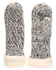 Women - Two Tone Thick Yarn Mittens-2266581