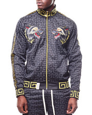 Track Jackets - Wolf Patch Track Jacket w Greek Key Trim-2266113