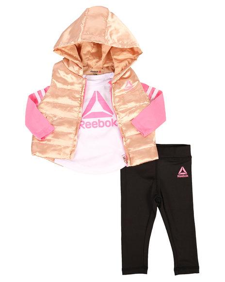 Reebok - 3 Piece Sporty Girl Puffer Vest Set (Infant)