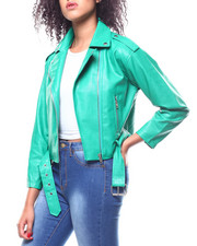 Women - Faux Leather Moto Jacket-2267889