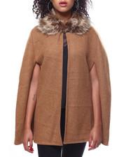 Sleeveless - Micro Fleece Twill Faux Fur Collar Cape-2267879