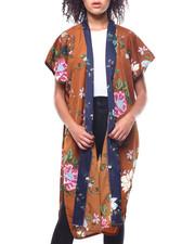 Fashion Lab - Contrast Border Floral Print Kimono-2267867