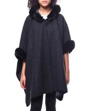 Fashion Lab - Micro Fleece Ruana Faux Fur Trim Hood-2267884