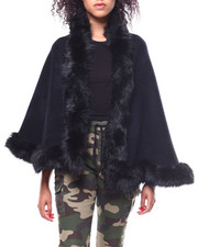 Sleeveless - Faux Fur Trim Knit Shawl-2267882