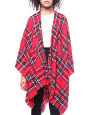 Fashion Lab - Scottish Plaid Woven Ruana-2267883