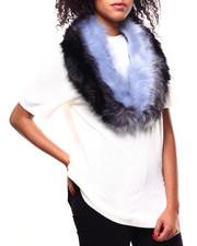 Fashion Lab - Tricolor Stripe Panelled Faux Fur Collar-2268725