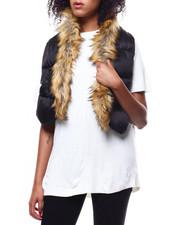 Fashion Lab - Woven Puffer Scarf/Faux Fur-2268729
