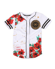 Tops - Flower Print Baseball Jersey (8-20)-2268996