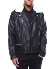Leather Jackets - LAFAYETTE REMOVABLE SHEARLING MOTO JACKET-2271826