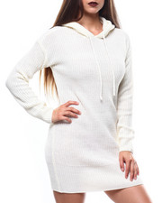 Women - Chunky Shaker Stitch L/S Hooded Mini Dress-2271377