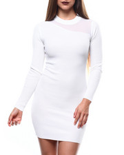 Almost Famous - Asymmetrical Mesh Insert Mock Neck Rib L/S Dress-2271356