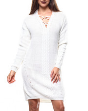 Women - V-Neck Lace-up Cable Hi/Low Hem L/S Mini Dress-2271361