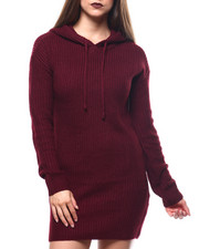 Women - Chunky Shaker Stitch L/S Hooded Mini Dress-2271372