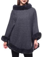 Sleeveless - Faux Fur Trim Woven Poncho-2270264