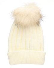 Fashion Lab - Genuine Raccoon Pom Hat-2273624