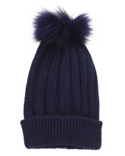 Fashion Lab - Genuine Raccoon Pom Hat-2273619