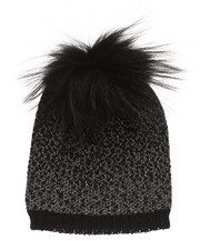 Fashion Lab - Ombre Lurex Genuine Raccoon Pom Hat-2273748