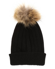 Fashion Lab - Genuine Raccoon Pom Hat-2273571