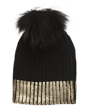 Fashion Lab - Metallic Foil Print Genuine Raccoon Pom Hat-2273750