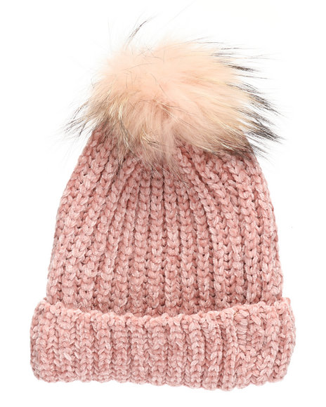 Fashion Lab - Chenille Genuine Raccoon Pom Hat