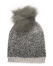 Fashion Lab - Ombre Lurex Genuine Raccoon Pom Hat-2273749