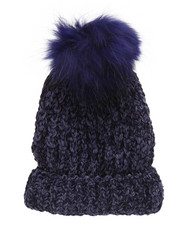 Fashion Lab - Chenille Genuine Raccoon Pom Hat-2273497
