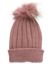 Fashion Lab - Genuine Raccoon Pom Hat-2273626