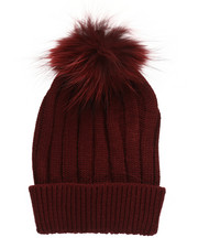 Fashion Lab - Genuine Raccoon Pom Hat-2273576