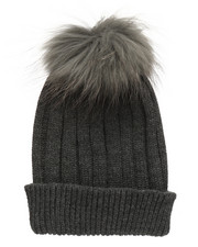 Fashion Lab - Genuine Raccoon Pom Hat-2273526
