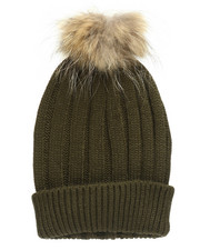 Fashion Lab - Genuine Raccoon Pom Hat-2273614
