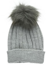 Fashion Lab - Genuine Raccoon Pom Hat-2273560