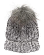 Fashion Lab - Chenille Genuine Raccoon Pom Hat-2273470