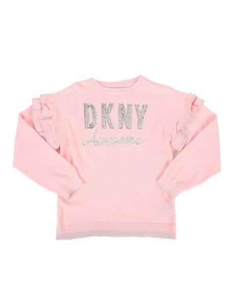 DKNY Jeans - Sequin Logo Ruffled Sweater (7-16)