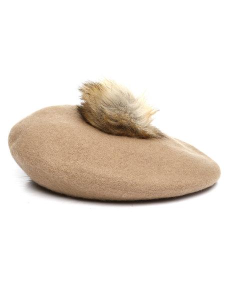 Fashion Lab - Wool Beret w/ Faux Fur