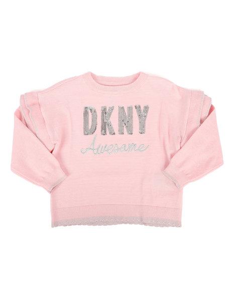 DKNY Jeans - Sequin Logo Ruffled Sweater (2T-4T)