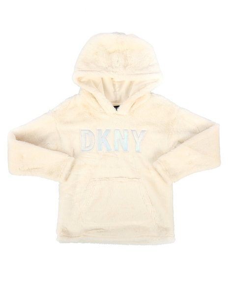DKNY Jeans - Faux Fur Pullover Hoodie (7-16)
