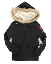La Galleria - Sherpa Lined Distressed Fleece Hoodie (4-6X)-2274427