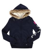 Girls - Sherpa Lined Distressed Fleece Hoodie (7-16)-2274442