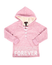 Sizes 7-20 - Big Kids - Sherpa Lined Fleece Hoodie w/ Lacing Detail (7-16)-2274827
