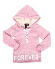 Sizes 4-6x - Kids - Sherpa Lined Fleece Hoodie w/ Lacing Detail (4-6X)-2274876