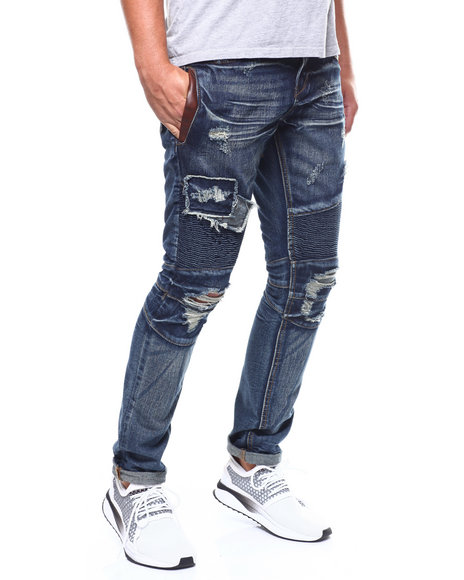 Heritage America - MOTO JEAN W LEATHER TRIM POCKET