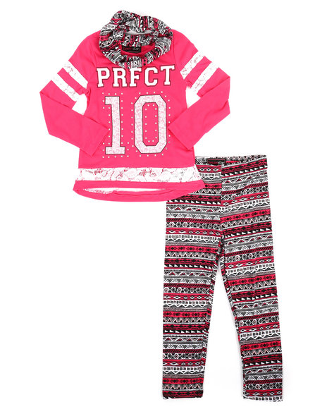 La Galleria - 3 Piece Lace Insert Top w/ Legging and Scarf Set (4-6X)