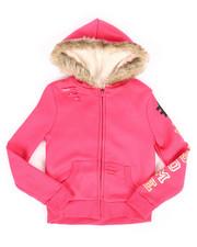 Girls - Sherpa Lined Distressed Fleece Hoodie (7-16)-2274417