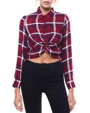 Polos & Button-Downs - Plaid Twist Front Crop Shirt-2273704