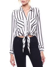 Polos & Button-Downs - Stripe Roll Sleeve Tie Front Blouse-2276744