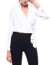 Long-Sleeve - Collared Surplus Side Tie L/S Blouse-2273665